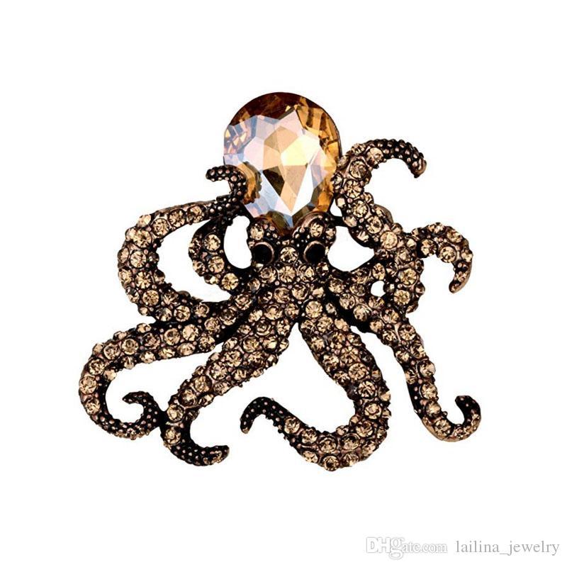 Bijoux de broche de pin octopus de cristal de femmes de trois couleurs