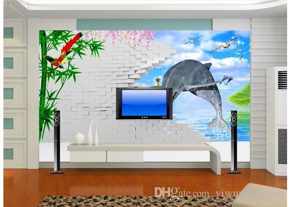 Décor à la maison classique dauphin 3D mural 3d papier peint 3d papiers peints pour toile de fond tv