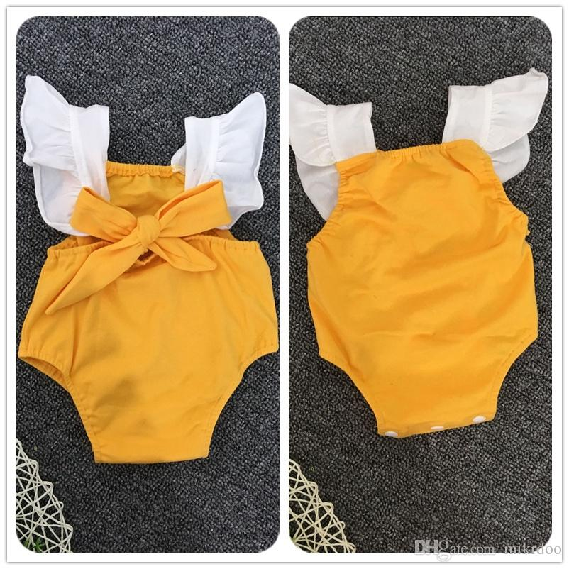 0120a91f87a2 Mikrdoo Hot Baby Yellow Rompers Kids Girls Bow Infant Cotton Romper ...