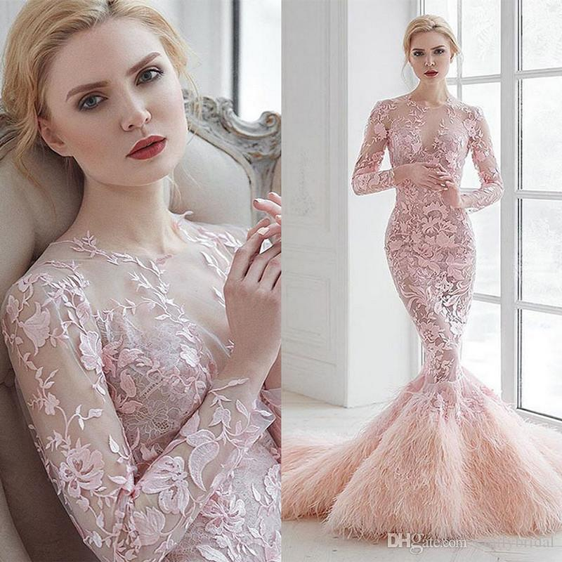 Classy Pink Feather Evening Dresses Gowns Lace Appliques Long Sleeve ...