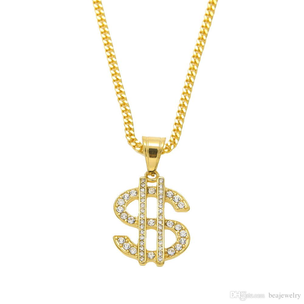 Goldkette dollar  Wholesale 18k Gold Plated Hip Hop Bling Bling Dollar Sign Gold ...