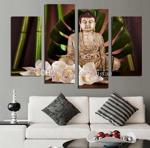 4 Painel de Budismo Buddha Canvas Painting Antique Buda imagem Arte Da Parede decoração de Casa para sala de estar sem moldura