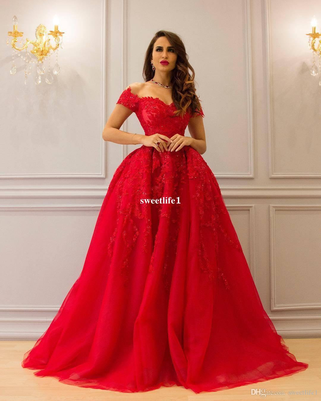 2017 Saudi Arabic Style Red Wedding Dresses Off The