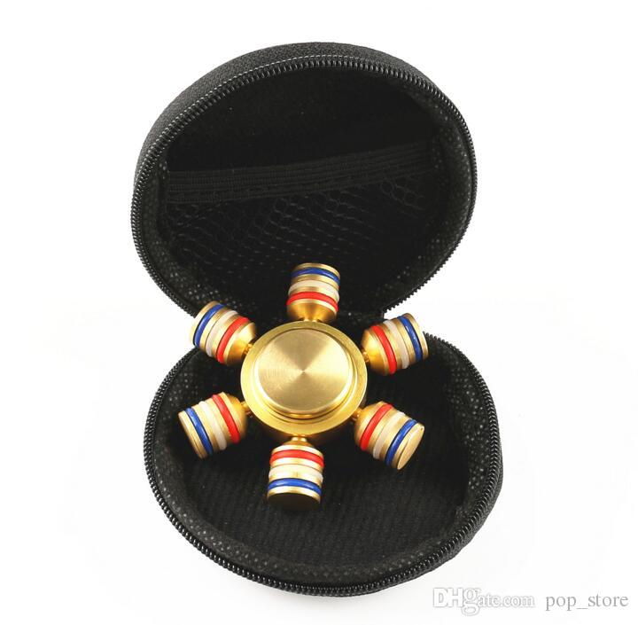 2017 NEW Hexagon Hand Spinner Six Angle Aluminium Fingertips Spiral Fingers Gyro Torqbar Fidget With 6 Heads Hand Spinner With Retail Box