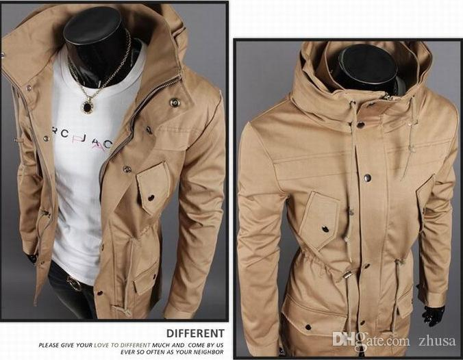 trench coat Men's Long Coat High-Quality Blend Shoulder Trench waist With drawstring