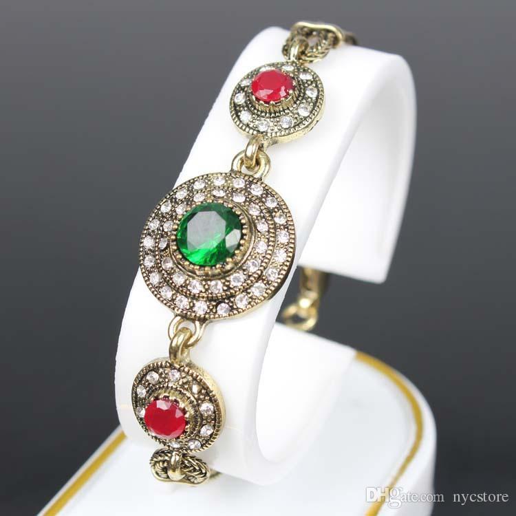 Antiquité Plaqué Or Vintage Bracelets Résine Bracelets Femmes Pulseiras Feminino Vert Pulseras Bracelet Turque Bijouterie