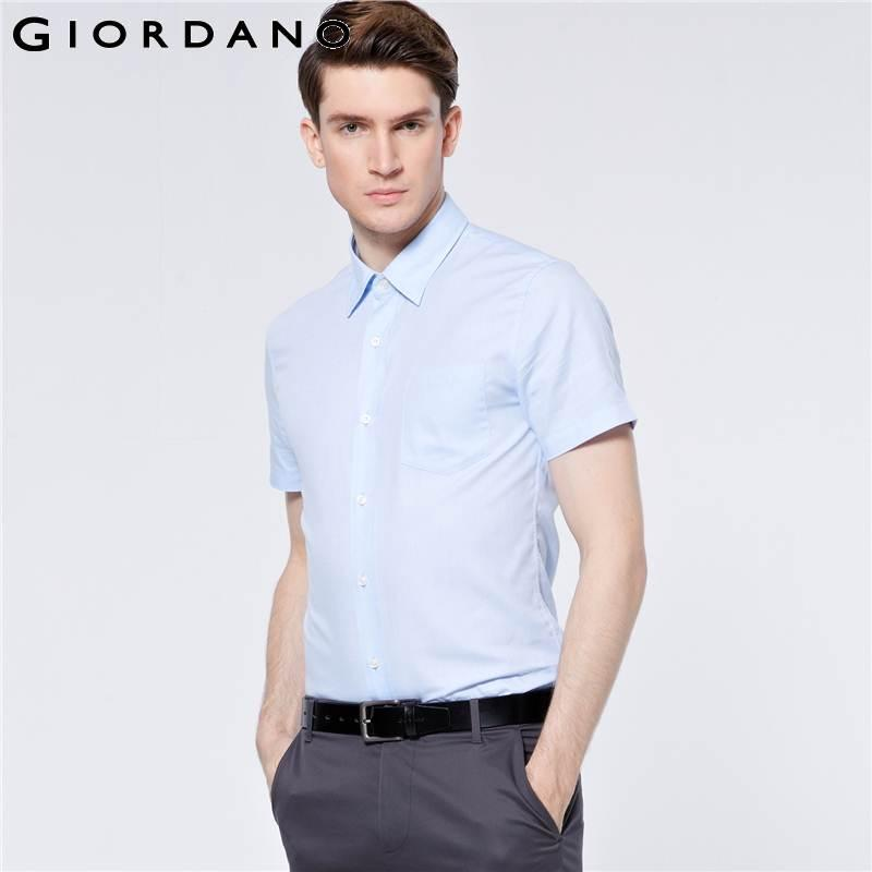 Man In Overhemd.2019 Wholesale Giordano Men Shirt Pin Stripes Short Sleeve Oxford