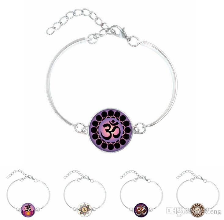 Glass Dome Om Yoga Bracelet Jewelryom Symbolbuddhismzen