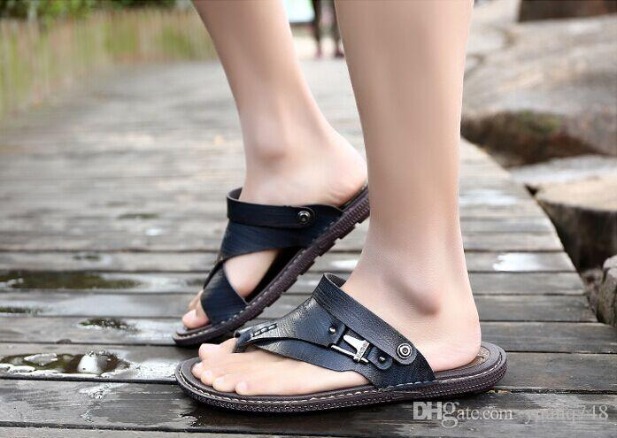 b6e79bb7a061a New Men s Sandals Summer Waterproof Sandals Youth Korean Version of the  Summer Clip Toe People Word Cool Slippers Tide Men Slippers Dual Slippers  Online ...