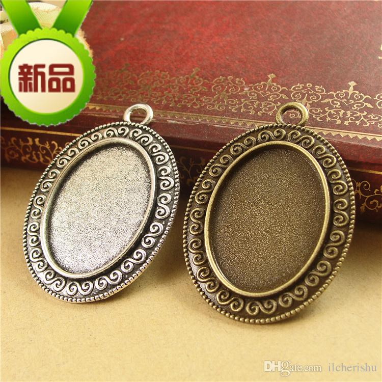 28*38MM Fit 25*18MM Oval shape metal stamping blank tray, antique bronze pendant base, tibetan silver plated bezel cameo cabochon setting