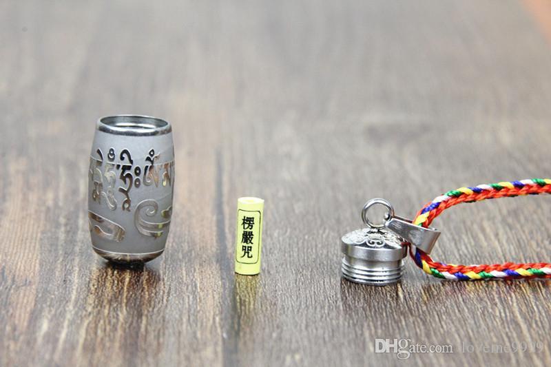 Нержавеющая Сталь Ом Мани Падме Гул S Ожерелье Для Женщин Мужчины Буддизм Партия Старинные Ожерелья Мантра Бутылка Пепел Урна Ожерелье Ювелирные Изделия