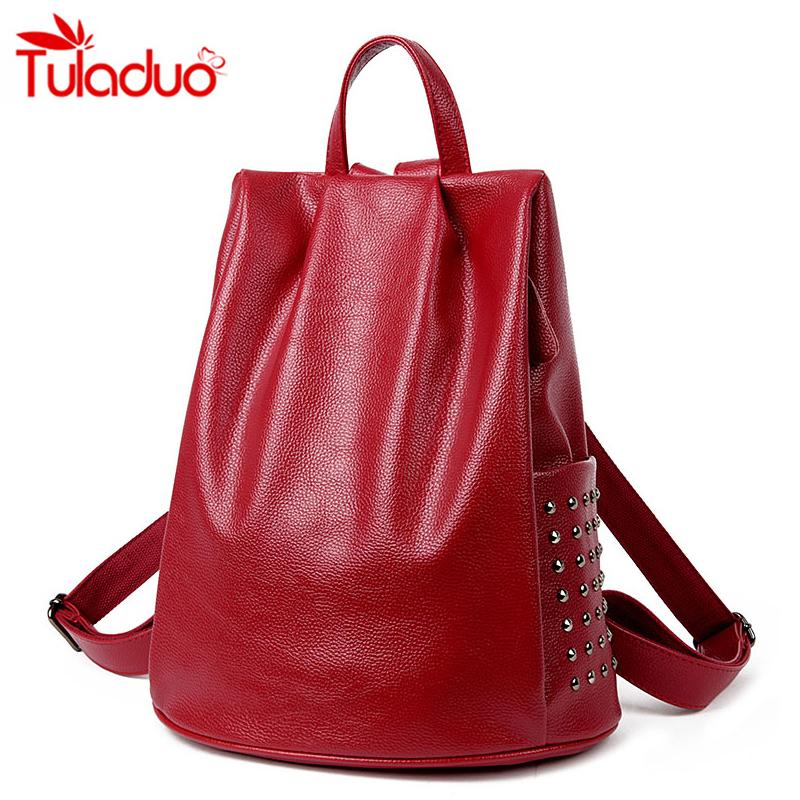 dce051e41f Wholesale New Fashion Women Genuine Leather Backpacks For Vintage School  College Girl Rivet Travel Bag Simple Style High Quality Female Swiss  Backpack ...