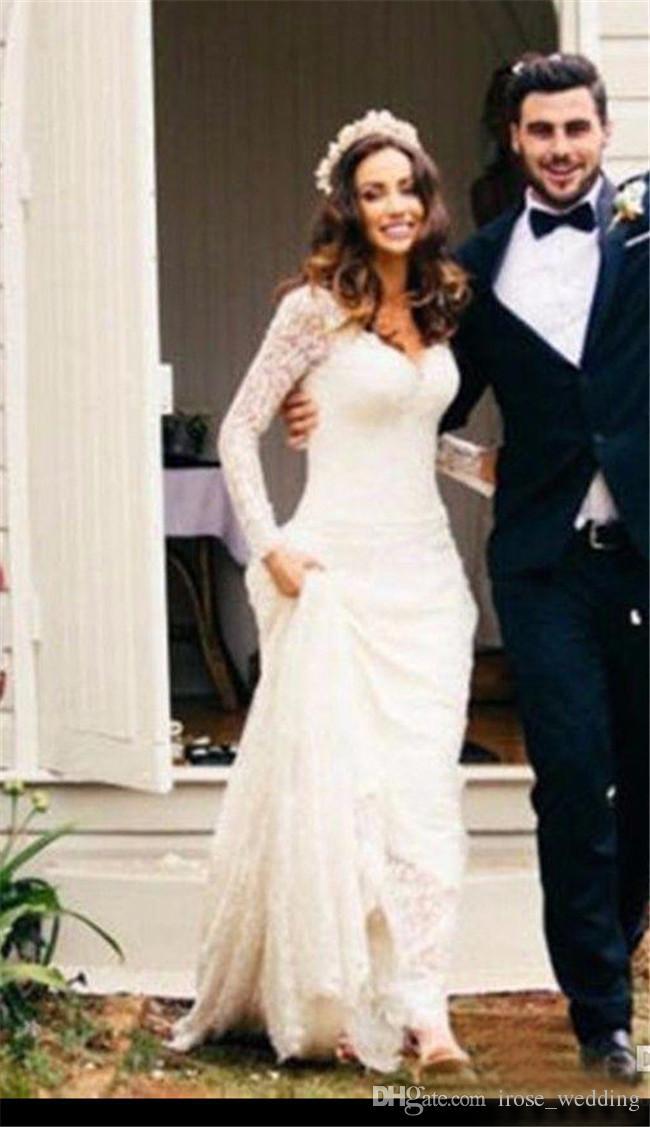 Full Lace Mermaid Wedding Dresses Long Sleeves V Neck Low Back ...