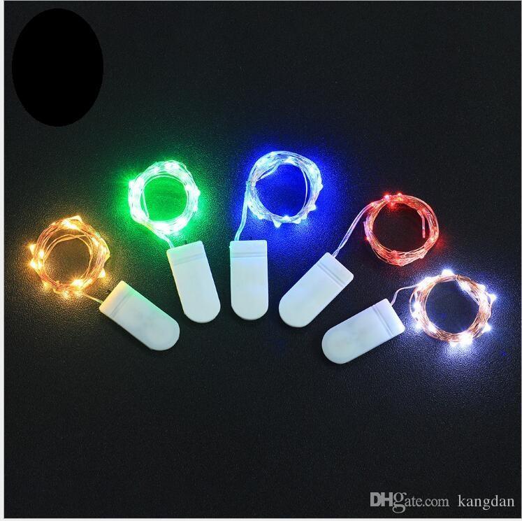 2 M 20 LEDs cordas CR2032 Bateria Operado Micro Mini Fio De Cobre de Prata Luz Estrelada LEVOU Tiras Para O Natal Decoração de Halloween