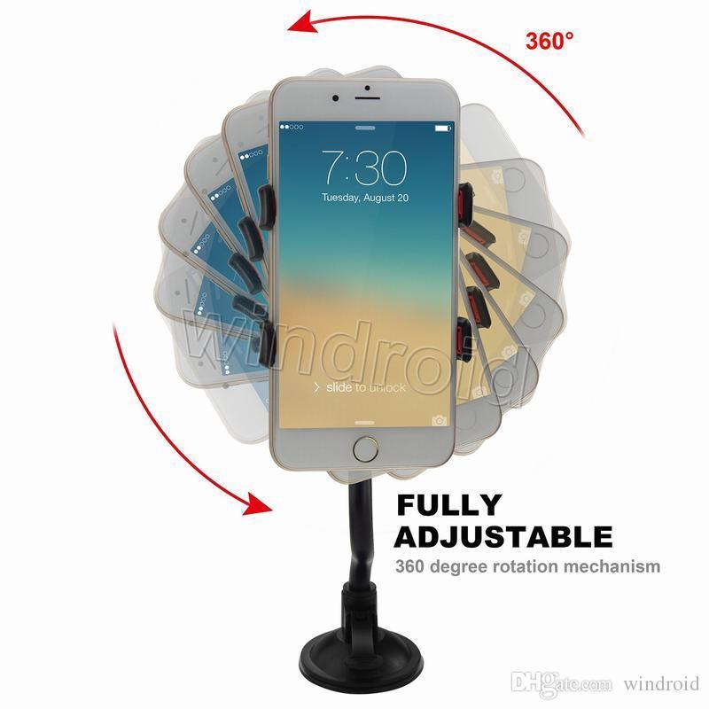 Günstige Universal 360 ° in Auto Windschutzscheibe Armaturenbrett Halter Auto Halterung langen Arm Halterung Ständer für iPhone Samsung GPS PDA Handy + Kleinkasten