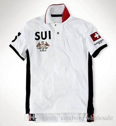 Мужская рубашка поло бренды 2017 Мужской с коротким рукавом мода повседневная футболка тонкий летняя вышивка гонки Polos ОАЭ Норвегия