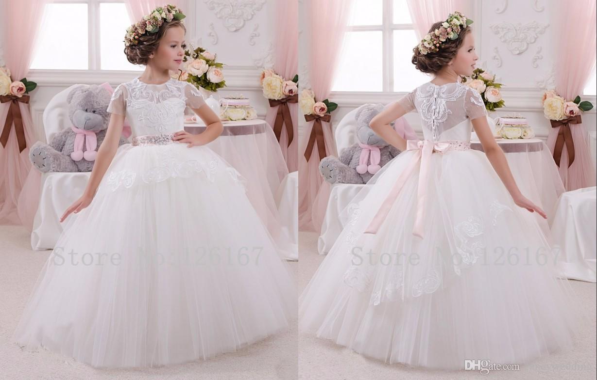 b183d69024c 2017 Ball Gown Jewel Applique Crystal Bow Tulle Short Sleeve Floor Length  Toddler Flower Girl Dresses Cute Kids Dresses Long Sleeve Flower Girl Dress  ...