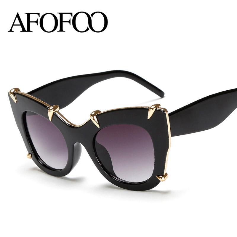 344afc32f35f5 Wholesale AFOFOO Fashion Women Cat Eye Sunglasses Luxury Brand Designer  Oversized Ladies Mirror Sun Glasses Big Frame UV400 Shades Cheap Eyeglasses  Online ...