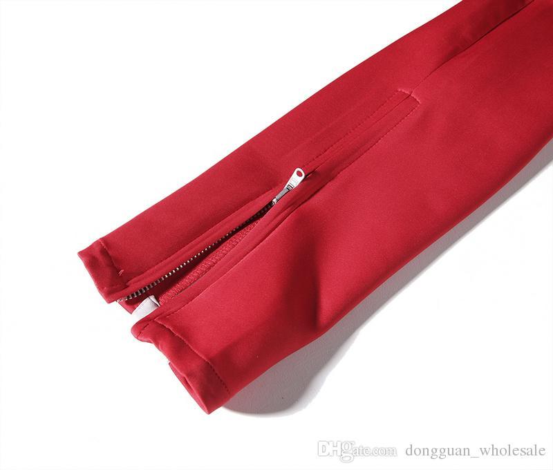 2017 Yeni yan fermuar pantolon hip hop Tanrı Of Korku Moda kentsel giyim kırmızı dipleri justin bieber FOG jogger pantolon Siyah kırmızı mavi
