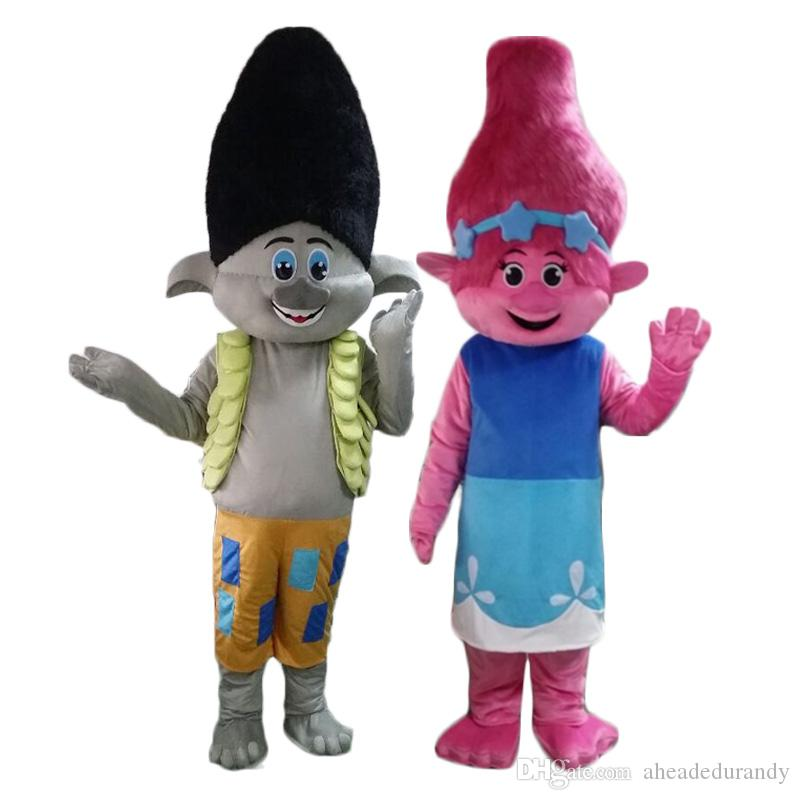 new poppy from dream works trolls movie halloween costume mascot fancy dress adult size costume mascot cheap mascot costumes for kids from aheadedurandy