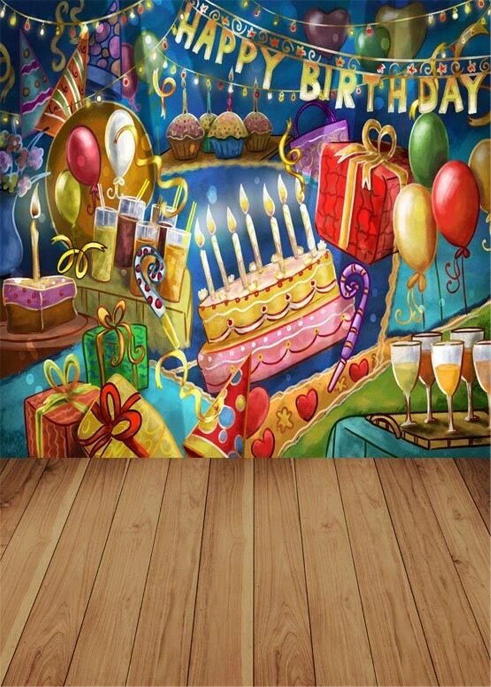 Graffiti wall vinyl - 2017 Graffiti Wall Happy Birthday Photography Backdrops Vinyl Printed Cake Gift Boxes Balloons Children Photo Studio Background Wood Floor From