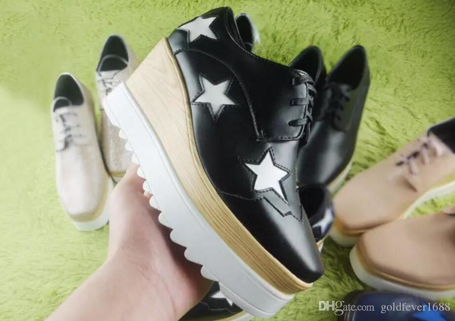 new Stella Mccartney Silver Wedges Footwear Elyse women Shoes Brogue Style Silver Patent Genuine Leather White Sole Platform