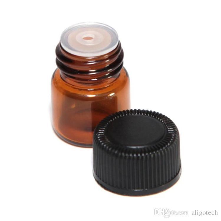 Botellas / caja de papel 1 ml 2 ml ámbar Mini aceite esencial de vidrio Pantalla Vial 1CC 2CC Pequeño Perfume Brown Muestra del envase envío
