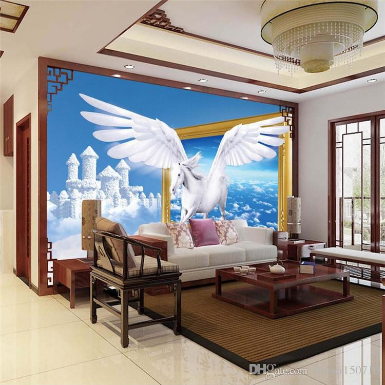 Custom Photo Wallpaper 3D Creative Art Blue Sky White Clouds White Horse Wall Mural Wallpaper Wall Papers Home Decor