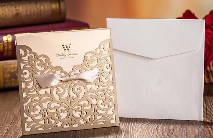 Gold wedding invitations/custom invitations romantic personality wedding invitation wedding cards designs via DHL free shipping in low price