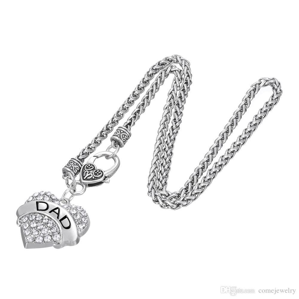 Mode Spezielle design brief DAD Anhänger Halsketten Fitness Dicken Herz Halsketten Kristall Herz Karabinerverschluss Frauen Schmuck Für Party