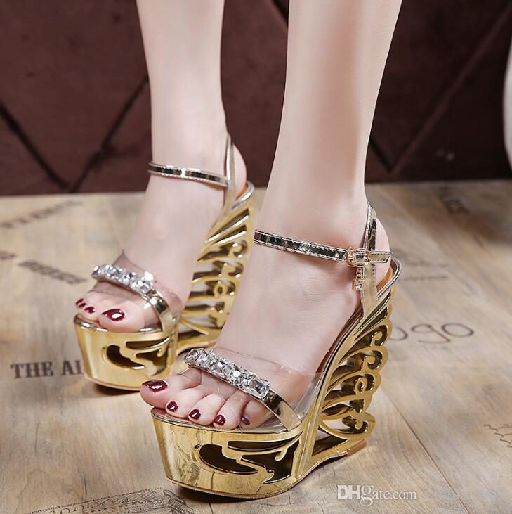 08dfa6bd4ebe Fashion Crystal Gladiator Sandals New Bling Sexy High Heels Platform Wedges  Transparent Sandals Casual Gold Sliver Shoes Woman Large Size Shoes For  Sale ...