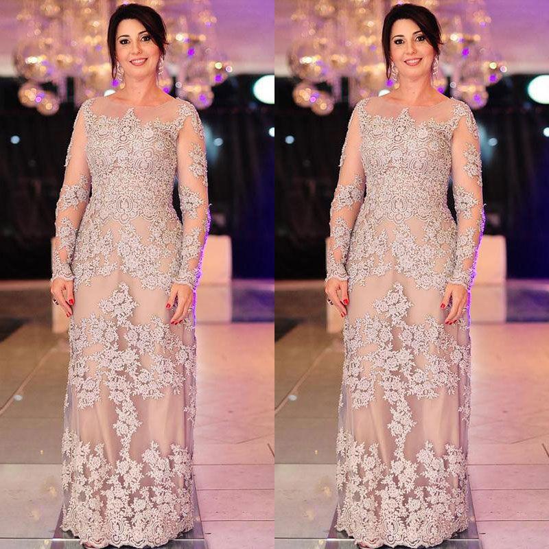 Elegant Plus Size Mother Of The Bride Dresses Long Sleeve Appliqued