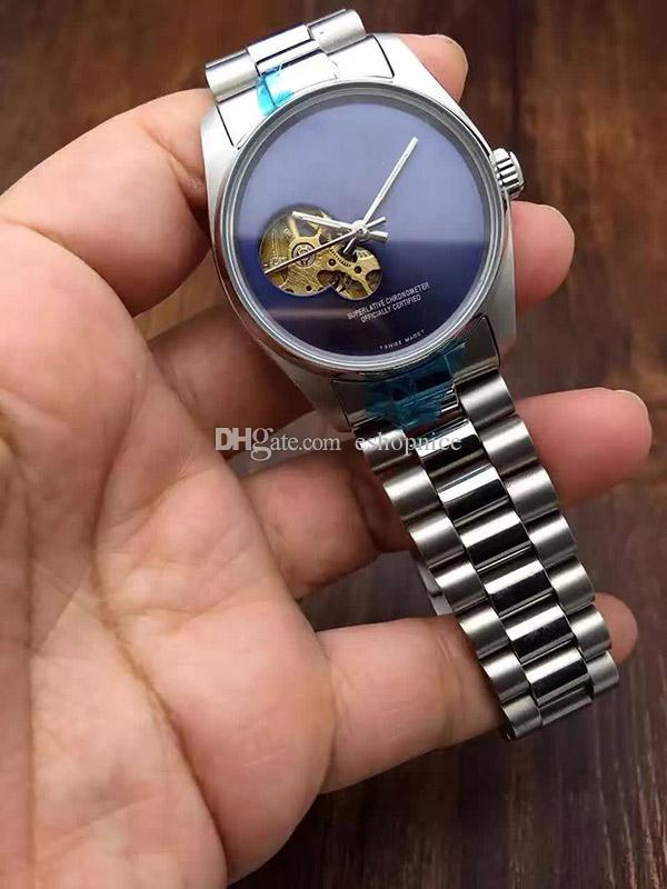 Hot Men Watches Luxury Watch Brand Stainless Steel Band Skeleton Dial Mechanical Automatic Wristwatch Business Gift For Mens Relojes Clock