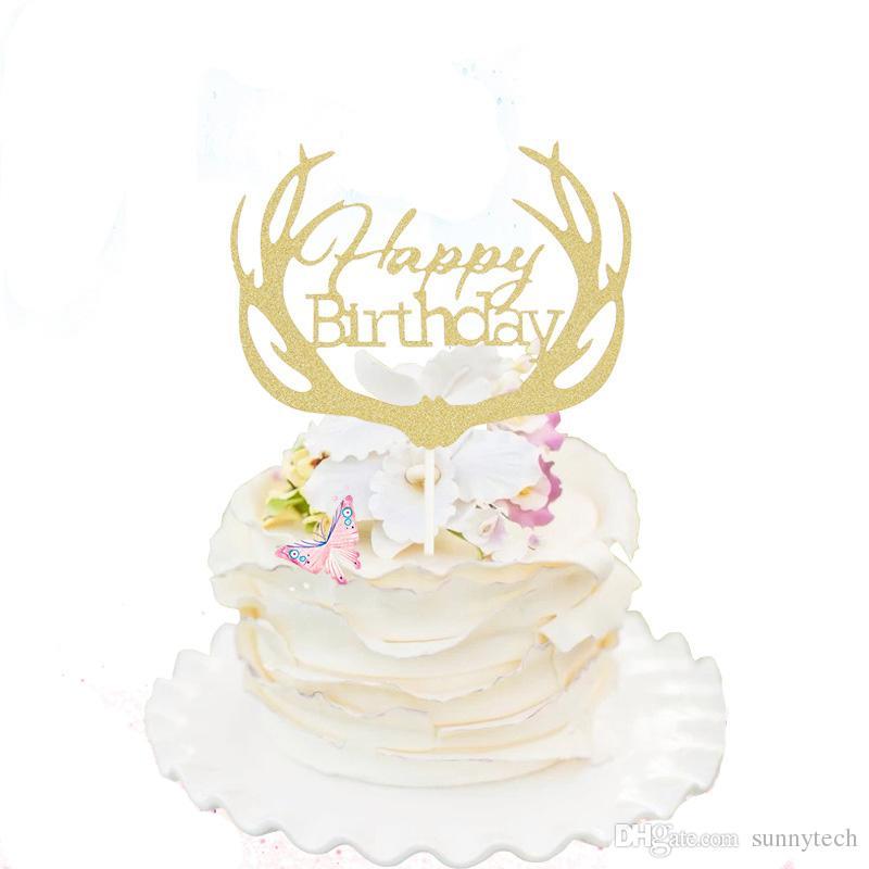 Compre Antlers Happy Birthday Cake Banderas Oro Silver Cupcake Cake