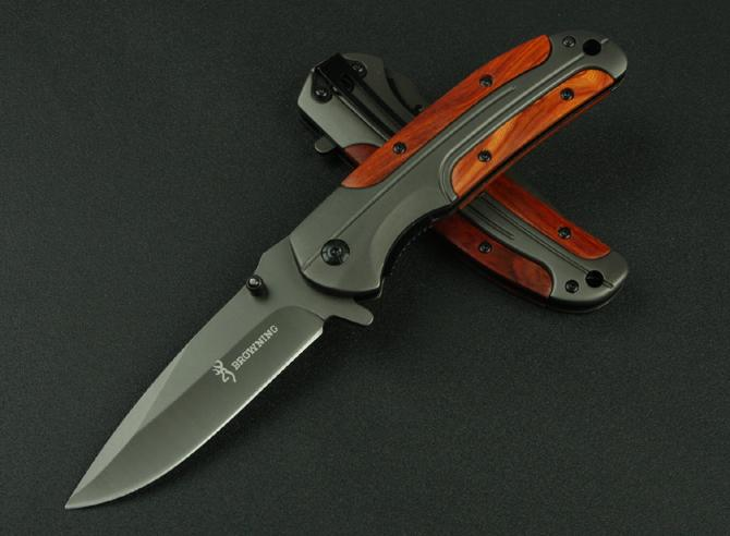 Browning DA43 Folding knife 3Cr13 Blade Rosewood Handle Titanium Tactical Knife Pocket Camping Tool fast open Hunting Knife Survival Knives