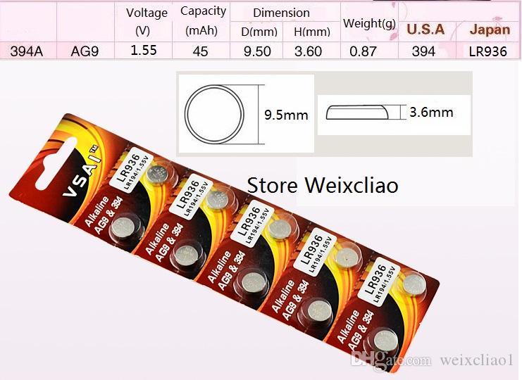 40 قطع 1 وحدة AG9 LR936 194 394 394A SR936 L936 LR45 1.55 فولت بطاريات زر خلية البطارية القلوية عملة vsai مجانية