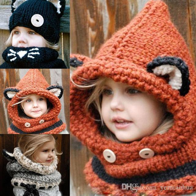 f6133ebbc56 2019 Hot Winter Beanie Baby Kids Boy Girl Warm Beanie Neckerchief Hats  Hooded Scarf Earflap Knitted Cap For 2 8 Years Old From Yemiaohua