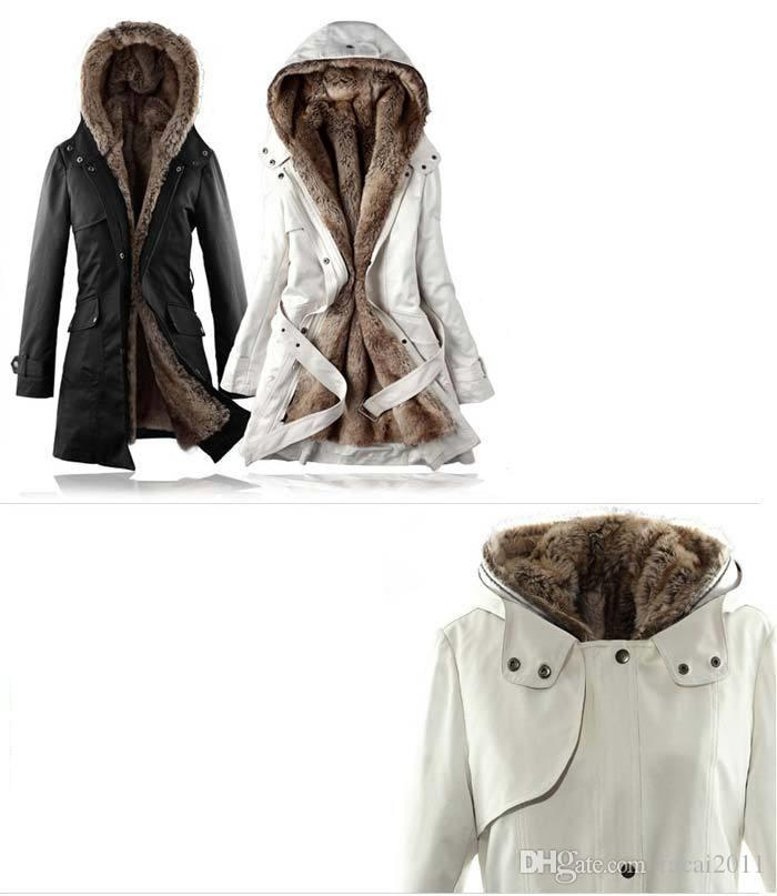 Hot! Faux Fur Lining Women's Fur Hoodies Ladies coats winter warm long coat jacket cotton clothes thermal parkas plus