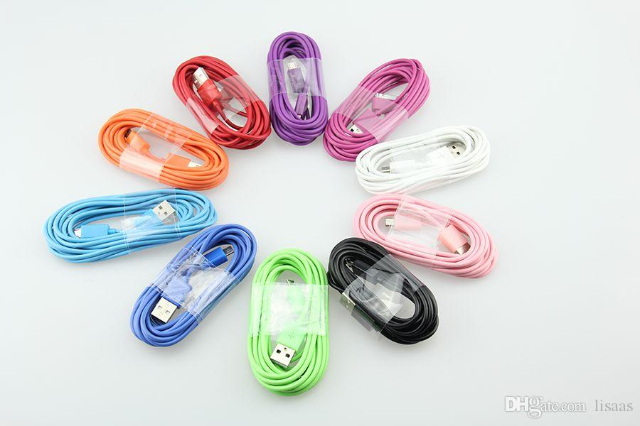 High quality Colour Round Micro USB Cable/V8 1M 2M 3M USB Calbe For Samsung S3 S4 S5 Xiaomi Mi4 3 HTC Charging Cables