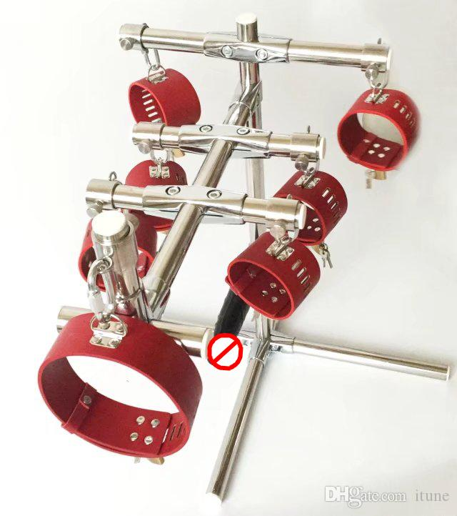 Stainless Steel Rod Portable SM Bondage Dog training device with leather anklet cuffs collar and dildo harness sex furniture