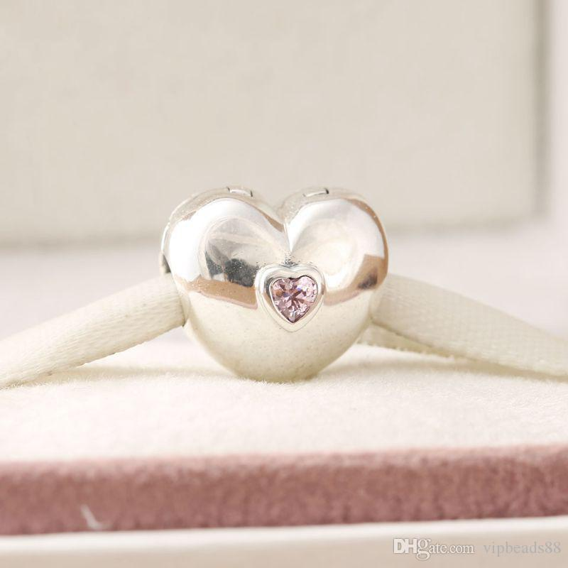Heart clip buckle beads charm 100% 925 Sterling-Silver-Jewelry Clear Symbols Bead DIY Bracelets Bangles Accessories