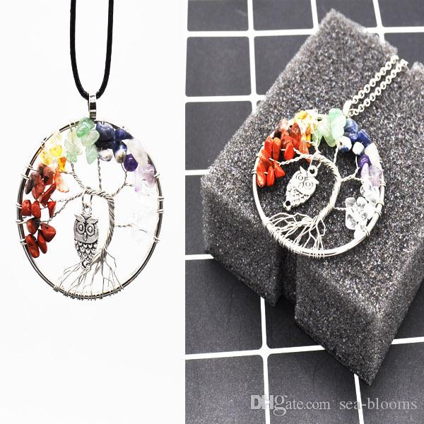 Tree of Life Necklace Tumbled Stone 2 Styles Chain Pendant 7 Chakra Natural Stone bead Jewelry Necklace Wire Wrapped B163S