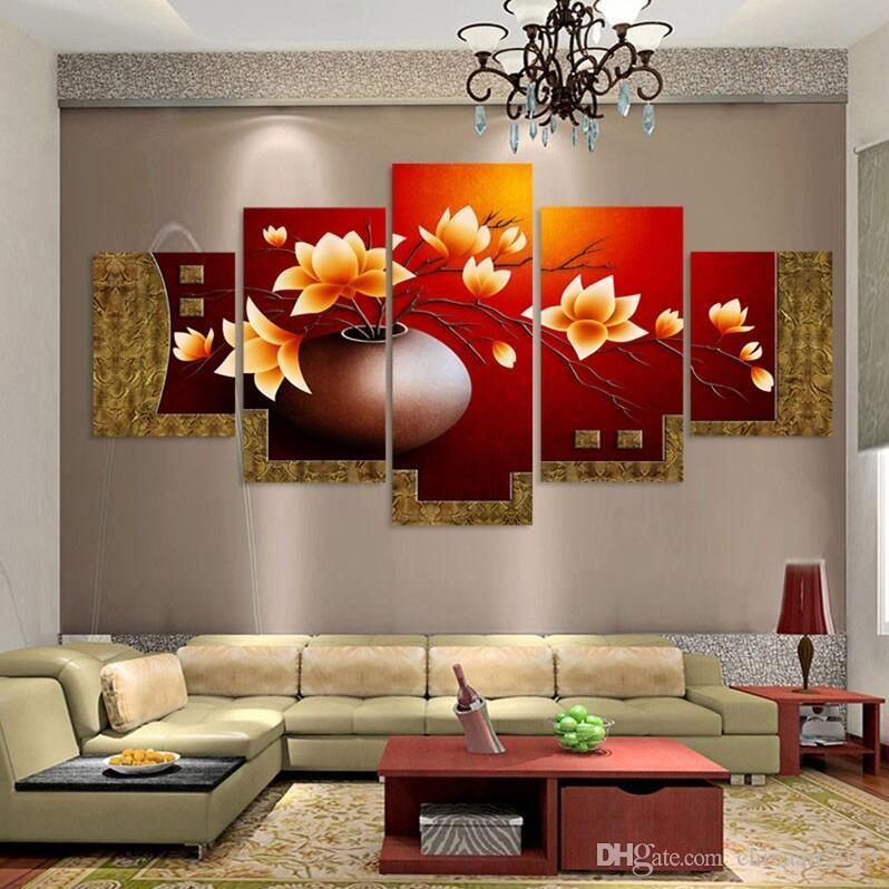 100% El-boyalı duvar sanatı Güzel çiçekler su tarafı ev dekorasyon tuval üzerine soyut Manzara yağlıboya