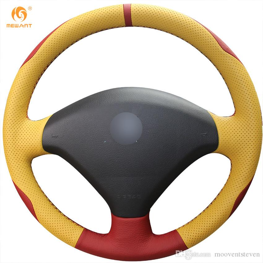 mewant red genuine leather yellow genuine leather car steering