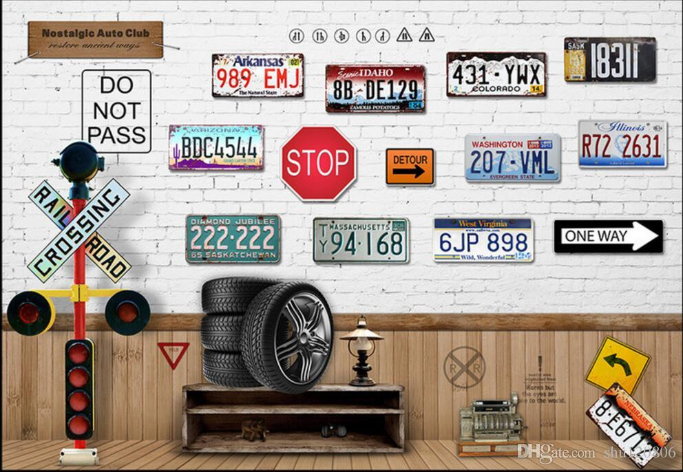 3d wallpaper custom photo mural Nostalgia car license plate TV sofa background wall painting 3d wall murals wallpaper for walls 3 d