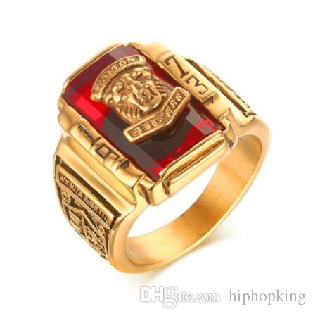 DHL Multicolor Stone Big Rings For Men Stainless Steel 1973