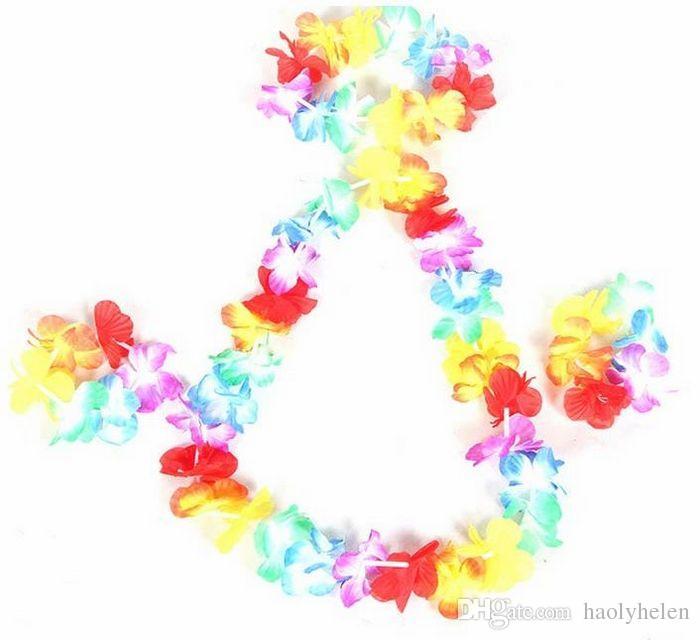 Wholesale of Hawaiian Flower Lei+ Flower Bracelet + Flower Headband, Luau Dress Party Dancing Costume Hula Set Free Ship
