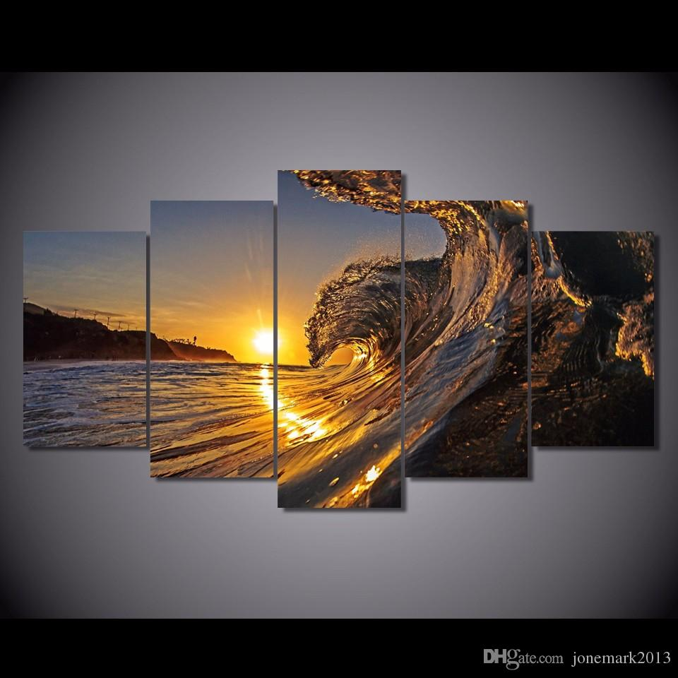 Framed HD Printed wave in the sunset beach Painting Canvas Print room decor print poster picture canvas /ny-2964