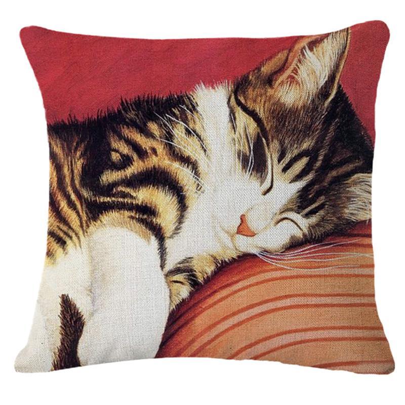 Cute Cat Funda de cojín Impreso Pintura al óleo Animales Gatos Funda de almohada para el asiento de la cama Sofá Silla Coche Sala de estar Hogar Decorativo de lino Almohada Cas