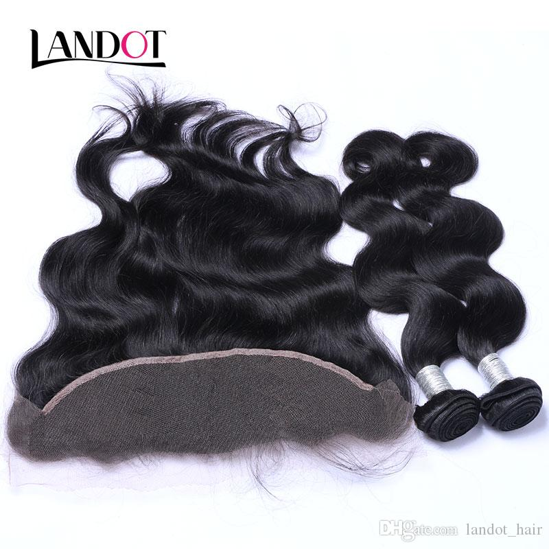 I capelli umani vergini brasiliani tessono 3 fasci con piena pizzo chiusure frontali chiusure del corpo wave non trasformata peruviana indiana malaysiana capelli cambogiani